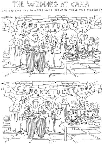 Wedding at cana spot the difference religious ed for Wedding at cana coloring page