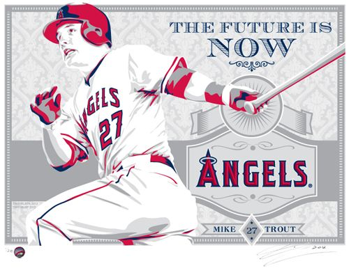 Mike Trout of the Los Angeles Angels - hand made screen print, signed and numbered. Limited Edition of 200. $50