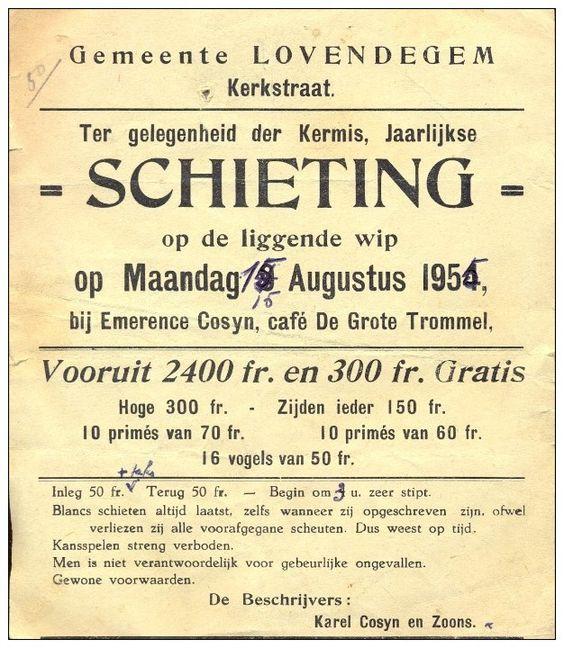 1954 kleine affiche schieting Lovendegem café De grote trommel 1954