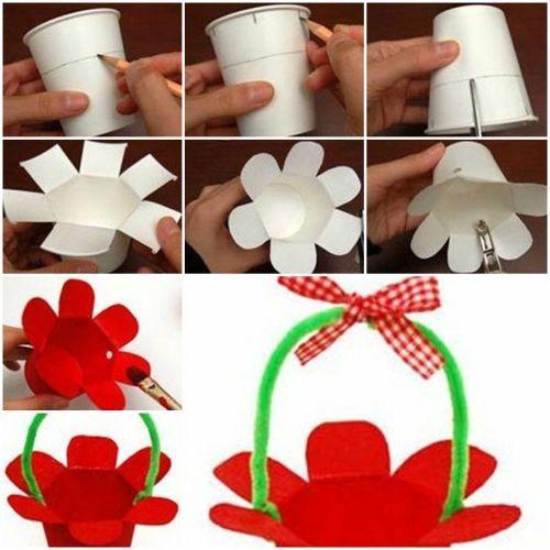 How to make Paper Cup Basket step by step DIY tutorial instructions / How To Instructions: Papercups Art, Flower Baskets, Paper Basket, Diy Craft, Basket Kidscraft
