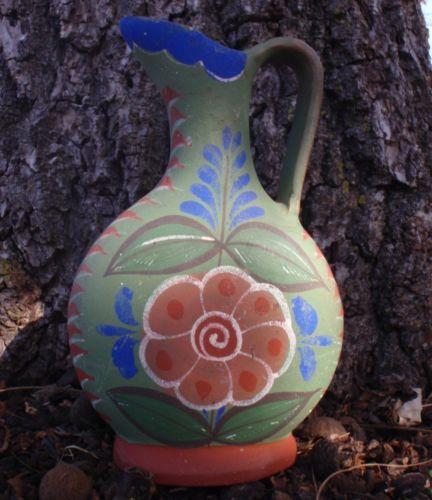"Vintage Tonala Mexico Pottery Pitcher Jug OPAQUE Floral Tlaquepaque Folk Art 8"""