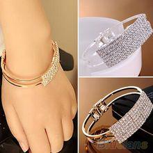Nova moda elegante mulheres Bangle pulseira pulseira de cristal Cuff Bling Lady presente braceletes e pulseiras 1O2T(China (Mainland))