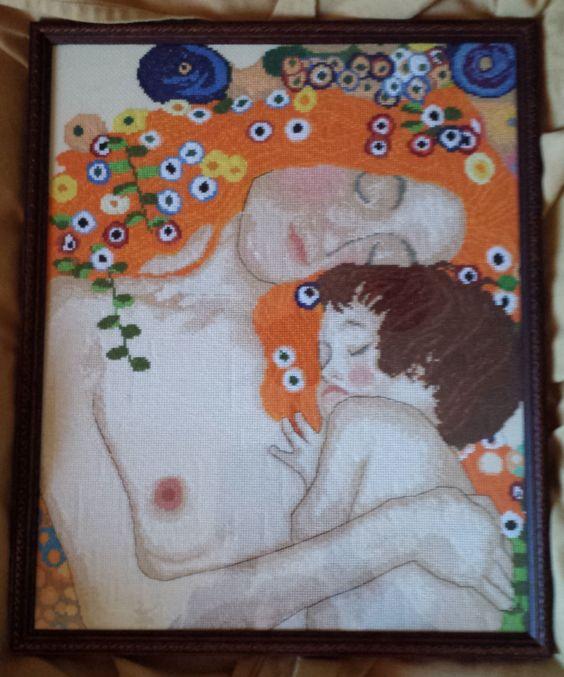 La Maternidad de Klimt en punto de cruz