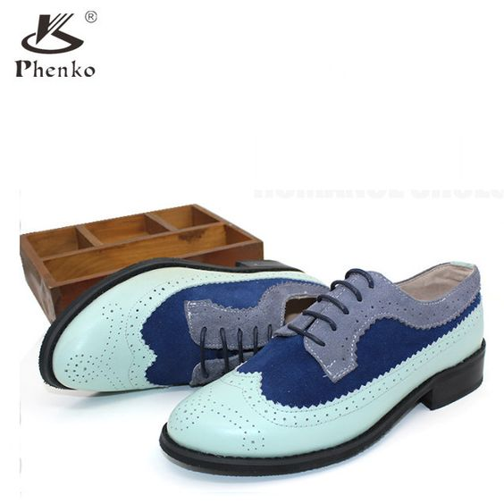 Women's Vintage Genuine Leather Oxford flats