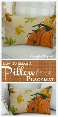 How to make a pillow from a placemat. This gorgeous fall pumpkin pillow can be made in minutes!
