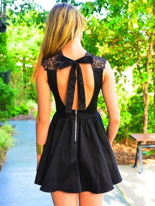 lovely open back sleeveless dress, bow tie back with lace shoulders, cool exposed zipper, lbd with flirty, sexy and tough attitude  -- Little black dress fabulous: