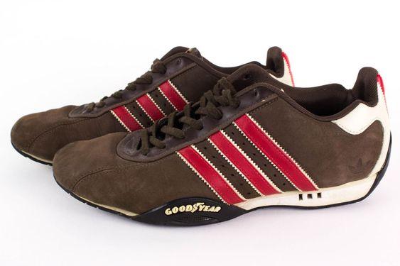Adidas Original Mens Sz 9 Brown Red Stripe Adi Low Racer Goodyear Driving Shoes…