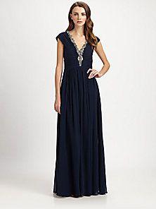 Badgley Mischka - Silk Chiffon Beaded-Neck Gown