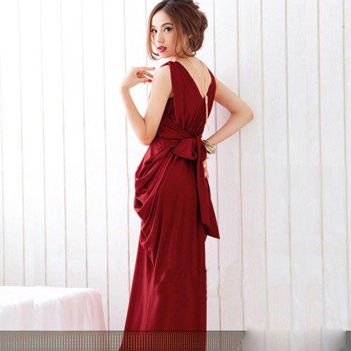 Neu Overall Damen Sommer Schleife Abendkleid Double V-Auschnitt Keid Cocktailkleid Rot