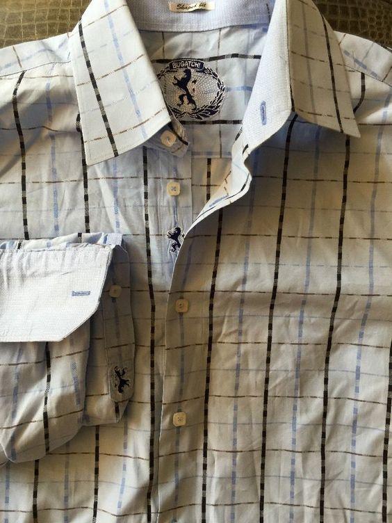 Men BUGATCHI UOMO Blues Plaid Shaped Fit Large Shirt L/S #BUGATCHIUOMO #ButtonFront