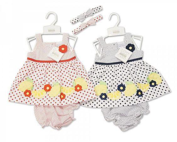 Baby Punkte Sommerkleid mit Stirnband und Höschen verschiedene Größen