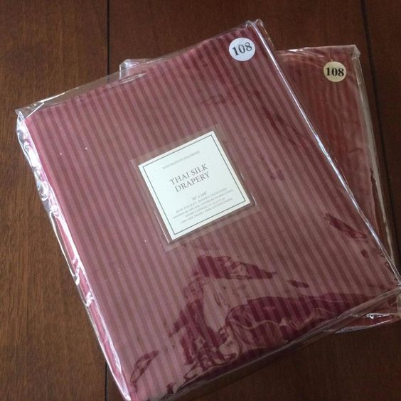 NEW RESTORATION HARDWARE Drapes Thai Silk Drapery 50x108 100% Silk Sangria S/2…