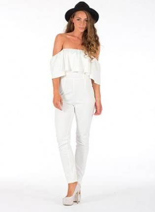 White off shoulder jumpsuit www.UsTrendy.com #white #jumpsuit ...