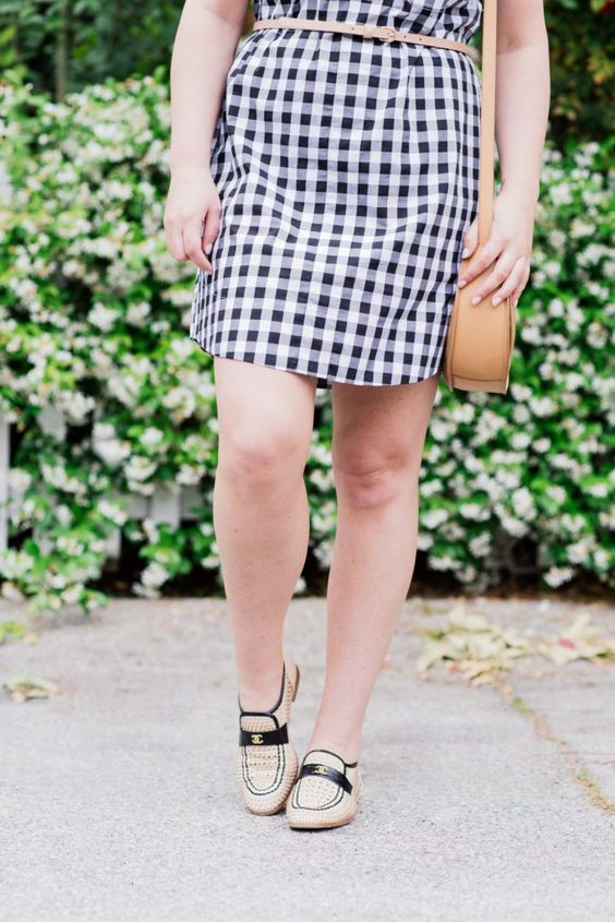 gingham shirtdress- lespec sunglasses- chanel loafers- cuyana bag