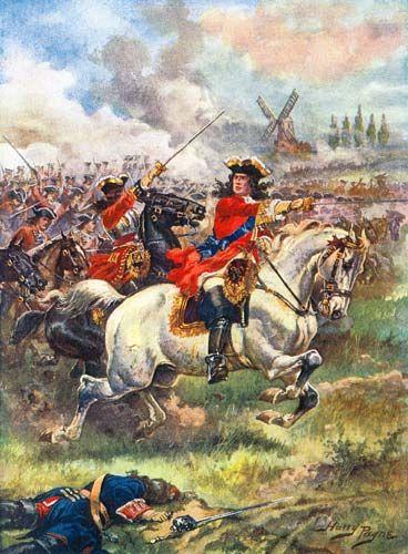 The Duke of Marlborough leads the  assault at the Battle of Blenheim.