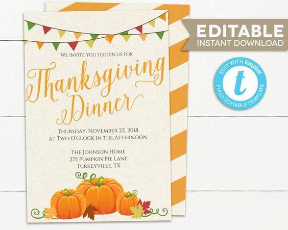 Thanksgiving Dinner Invitation Thanksgiving Invitation Etsy Thanksgiving Invitation Thanksgiving Dinner Invitation Invitations