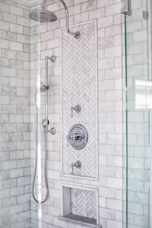 Multiple Polished Nickel Shower Heads Are Fitted In A Seamless