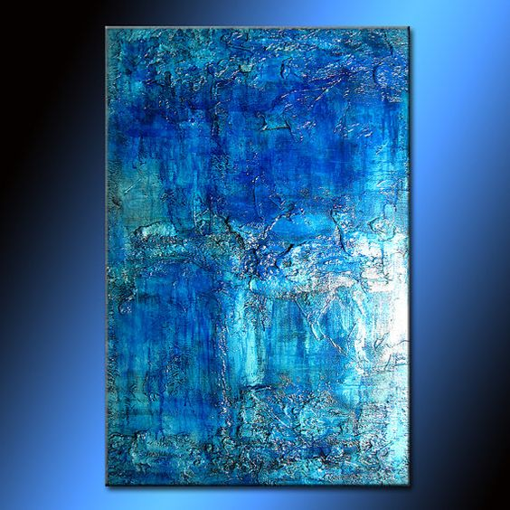 Original Thick Texture Blue Abstract Painting by newwaveartgallery, $270.00