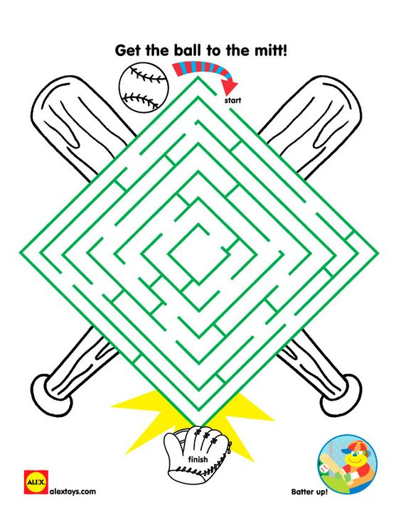 Help get the baseball through the maze to get into the mitt with this baseball themed free #printable   alexbrands.com