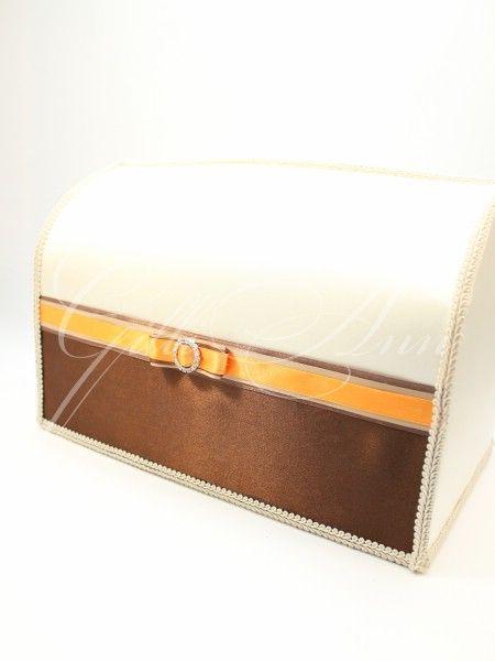 Свадебный сундучок для денег Gilliann Chocco Beauty Orange BOX032 #weddingbox