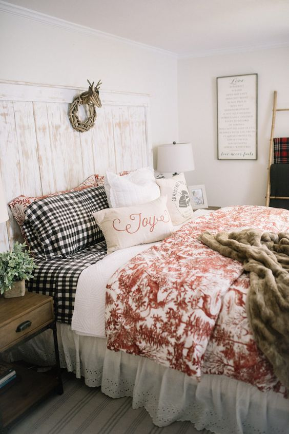 I've come to realize your bedding doesn't have to be matchy matchy! This is a gorgeous room and nothing matches but it all looks amazing together!