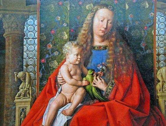 Jan van Eyck - The Madonna of Canon van der Paele (1436) detail Madonna & child with parakeet | Flickr - Photo Sharing!