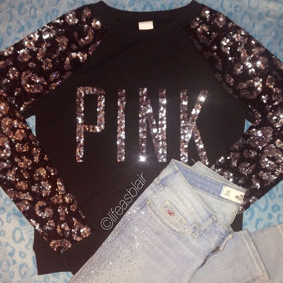 3 quarter sleeved (probably warm enough with a coat?) Cute shiny top (;  PINK/VS