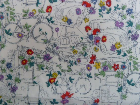 Beautiful Liberty's fabric: boats, bikes, taxis, buses and flowers