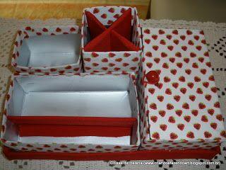 caixas feitas de embalagens de leite