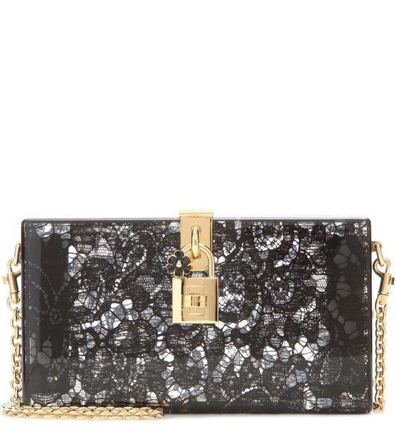 Boxclutch Dolce aus Plexiglas mit schwarzer Taormina-Spitze By Dolce & Gabbana