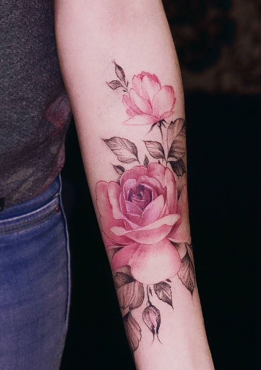 Realistic Pink Rose Tattoo On The Arm Www Otziapp Com Pink Tattoo Pink Rose Tattoos Rose Tattoo Sleeve