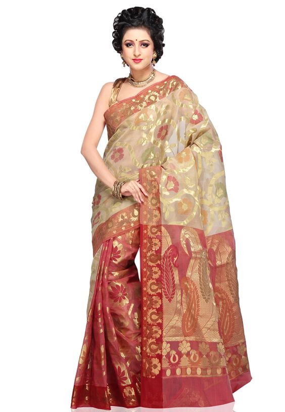 Beige and Red Art Silk Saree with Blouse: SAVA48