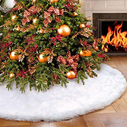 36 Inches Luxury Faux Fur Christmas Tree Skirt Soft Snow White