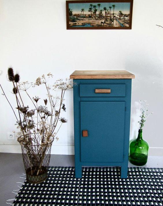 Buffet Confiturier Bleu Canard Mobilier De Salon Meubles Peint En Bleu Relooking De Mobilier