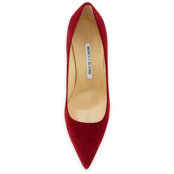 Manolo Blahnik BB Suede 105mm Pump, Claret (10,445 MXN) ❤ liked on Polyvore featuring shoes and pumps