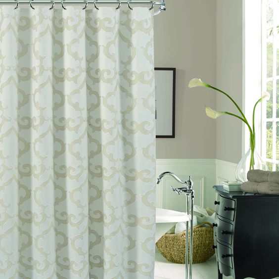 Maintain an elegant feel in your bathroom with this unique shower curtain. Contains 30-percent rayon and 70-percent polyester. Curtain measures 72 inches long and 72 inches wide.