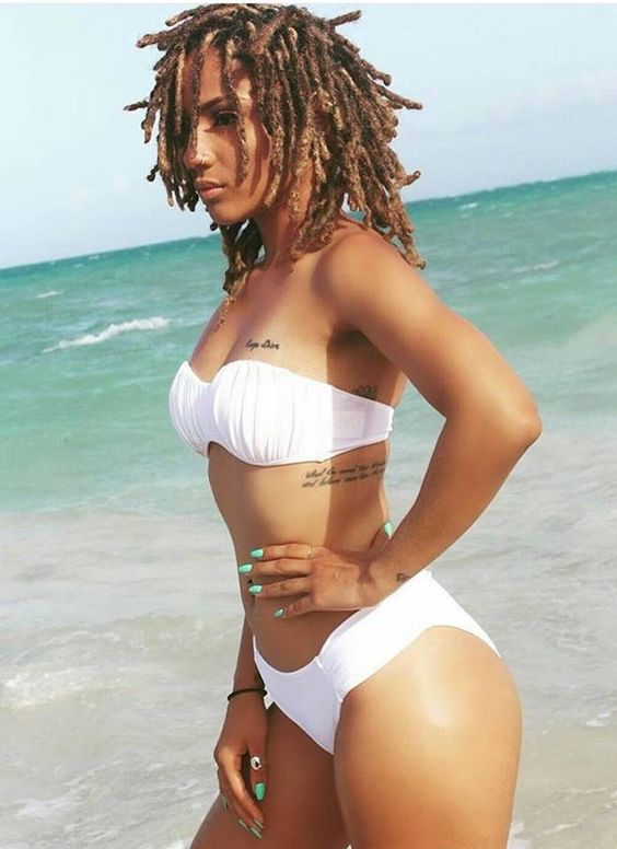 Beautiful black woman bathing suit