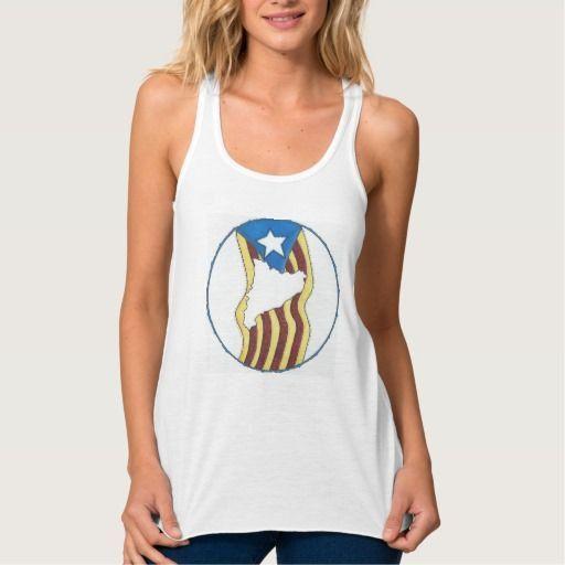 Camiseta Tiras Mandala Bandera Catalana -Blanca- Yoga  } Material: Camiseta de poliéster con tacto de algodón. Tela muy suave y fresca.