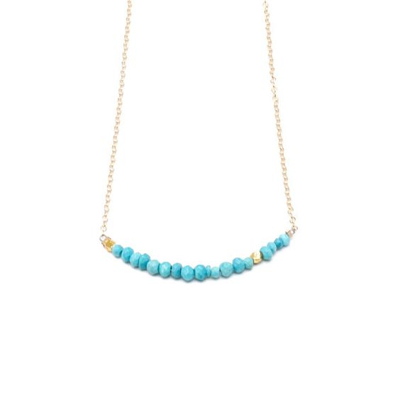 Morse Code Gemstone Necklace TURQUOISE