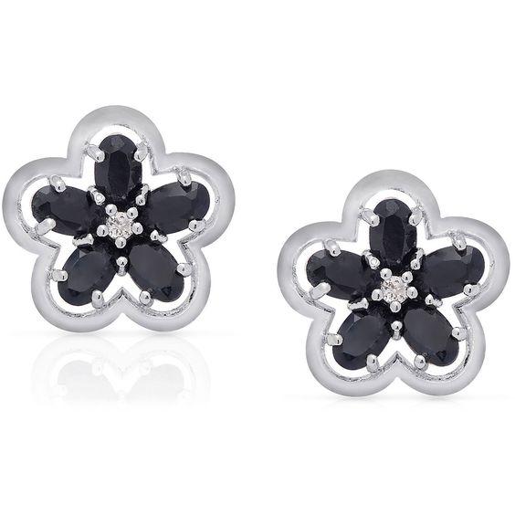 Dolce Giavonna Silverplated Gemstone Flower Stud Earrings