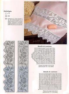 Filet crochet lace edging: flowers ~~ MIRIA CROCHÊS E PINTURAS: BARRADINHOS DELICADOS