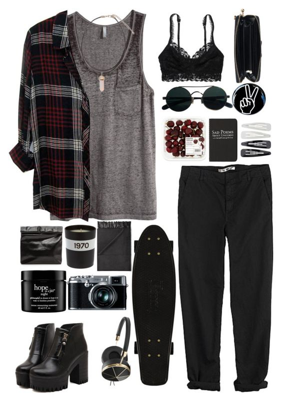 """Grunge Fun"" by carol9801 ❤ liked on Polyvore featuring H&M, Rails, Dr. Martens, GG 750, American Eagle Outfitters, Bella Freud, Acne Studios, Moleskine, Forever 21 and Frends"