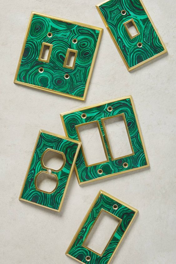 Malachite Switch Plates http://www.anthropologie.com/anthro/product/home-hardware-switchplates/39581319.jsp#/: