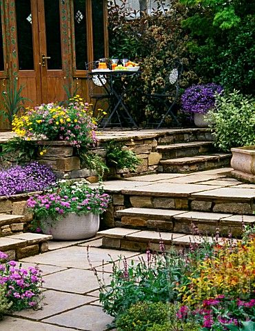 Terraced patio with container plants.