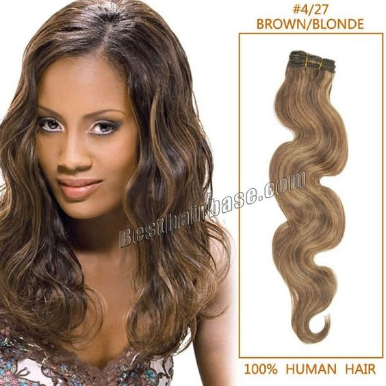 Onda del cuerpo Color de la mezcla armadura brasileña del pelo en # 27 100 g/unid marrón / rubio mixto dobles tramas Remy extensión del pelo 14 - 32 pulgadas