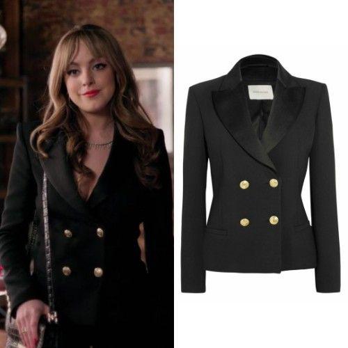 Fallon Carrington wears this black double-breasted Balmain blazer ...