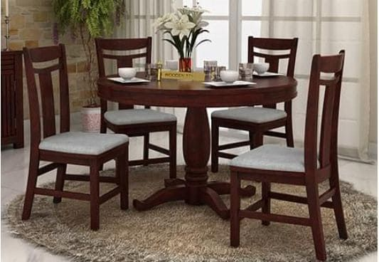 Isadora 4 Seater Round Dining Set Mahogany Finish 4 Seater Dining Table Dining Table Round Dining Round table set for 4