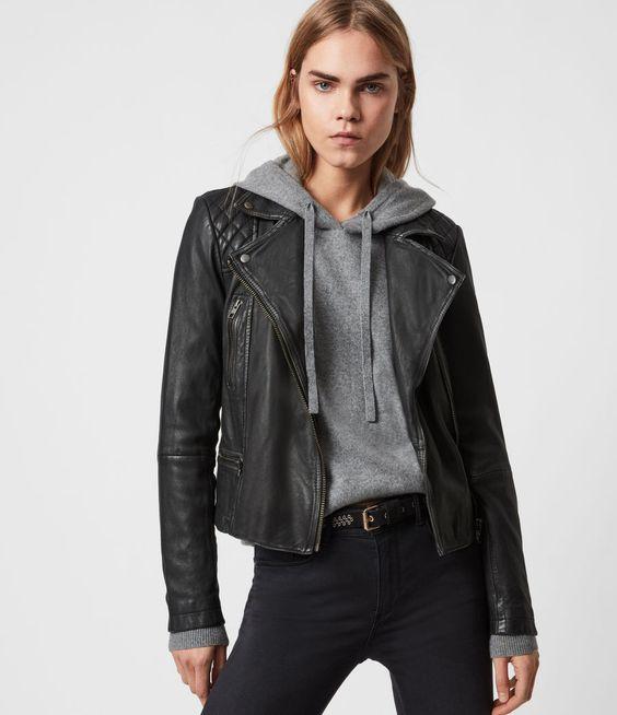 ALLSAINTS UK: Womens Cargo Leather Biker Jacket (black_grey)