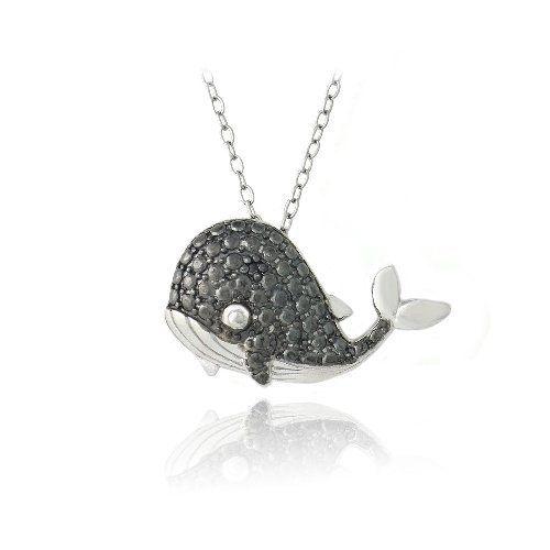 Sterling Argento Nero Diamante Balena collana 18