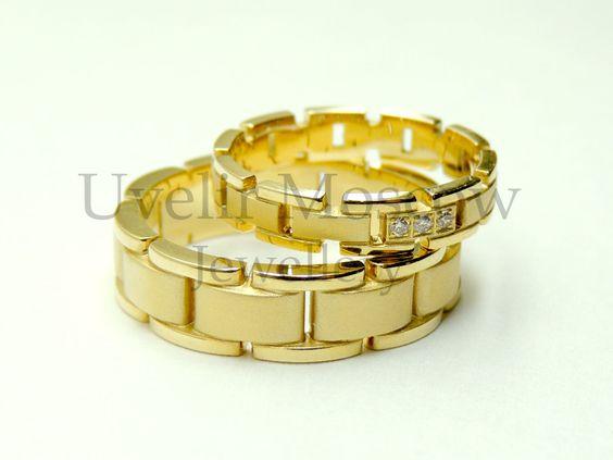 Парные обручальные кольца в виде браслета